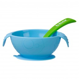 Silione First Feeding Bowl Set with Spoon - Ocean Breeze Blue Green