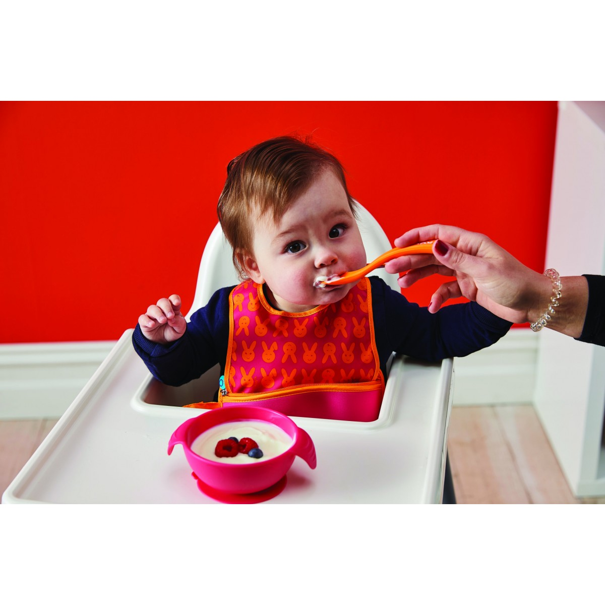 Silione First Feeding Bowl Set with Spoon - Strawberry Shake Pink Orange
