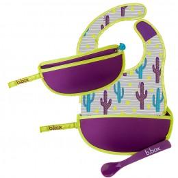 Travel Bib and Spoon Set - Cactus Capers Purple Grey