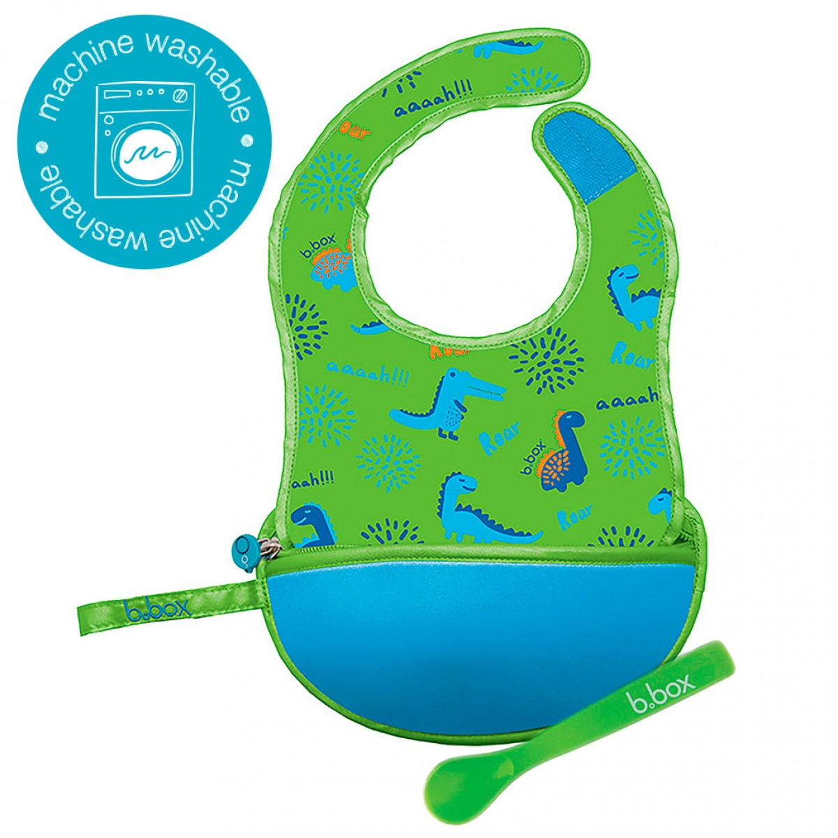 Travel Bib & Spoon Set - Dino Time Blue Green