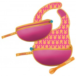 Travel Bib and Spoon Set - Hip Hop Pink Orange