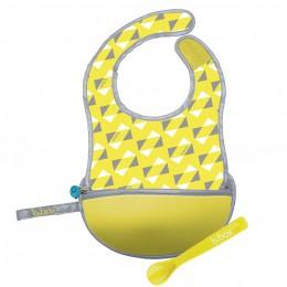 Travel Bib and Spoon Set - Pine Splice Yellow Grey