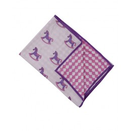 Lakhdi ki Kathi Pink Purple hand block print Dohar Blanket
