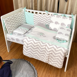Baby Elephant Crib Bedding with Quilt – 9 piece set