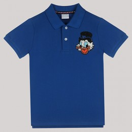 Blue Polo T-Shirt with Hand - Embellished Donald Duck Face Motif