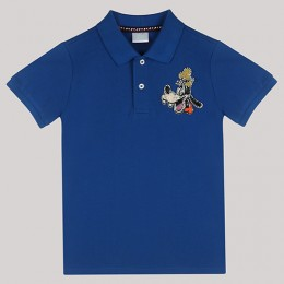 Blue Polo T-Shirt with Hand - Embellished Goofy Motif