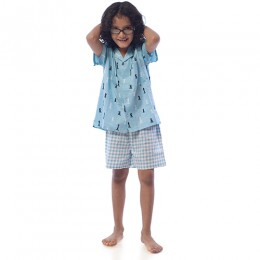 Chess Pure Cotton Shirt With Shorts Set