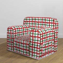 Comfy Sofa - Hand Drawn Check Red and Green