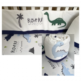 Dino Park Crib Bumper with Fitted Sheet