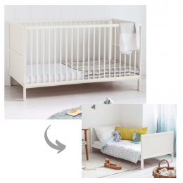 Freebirds Convertible Cot and Toddler Bed 3 in 1 – White
