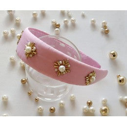 Gold Pearl Hairband - Pink