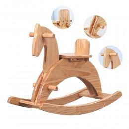 Kids Wooden Horse Rocker– Natural Wood Colour