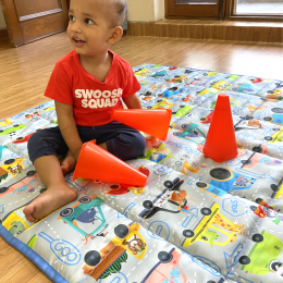 Quilted Indoor/Outdoor Playmat square –Blue