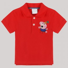 Red Polo T-Shirt with Hand - Embellished George Motif