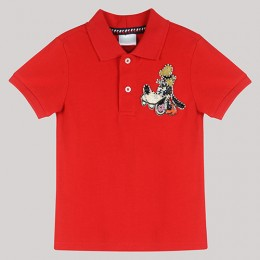 Red Polo T- Shirt with Hand - Embellished Goofy Motif