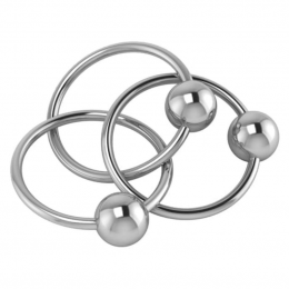 Sterling Silver Baby Rattle -Three Ring Baby Teether