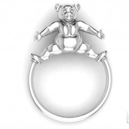 Sterling Silver Baby Teddy Ring Rattle