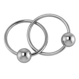 Sterling Silver Two Ring Baby Teether Rattle