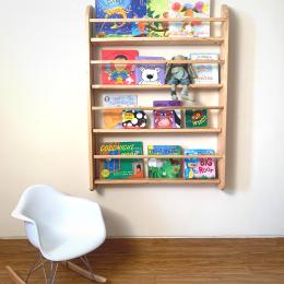 Wall Mounted Bookshelf – Natural Wood