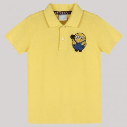 Yellow Polo T-Shirt with Hand - Embellished Minion Motif