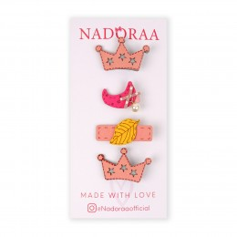 Nadoraa Forest Princess Pink Clip Set - Pack Of 4