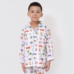 Alphabets Organic Pajama Set - Blue