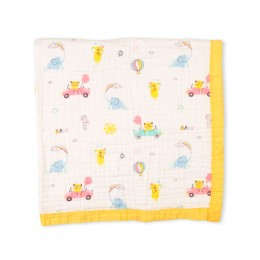 Balloons And Bears Quilted Muslin Blanket