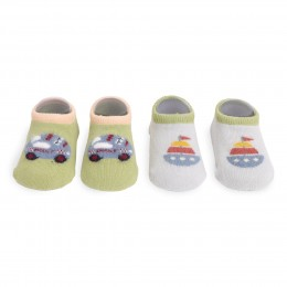 Bon Voyage Green And Grey Socks - 2 Pack