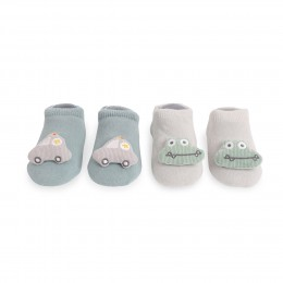 Cars And Crocs Teal And Grey 3D Socks - 2 Pack