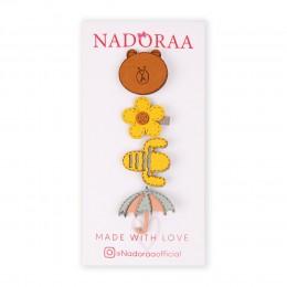 Nadoraa Flower Power Brown Clip Set - Pack of 4