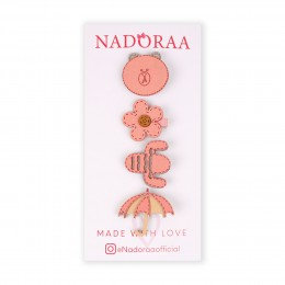 Nadoraa Flower Power pink Clip Set -  Pack of 4