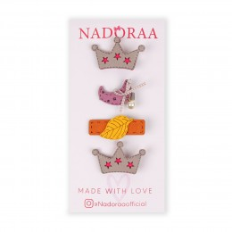 Nadoraa Forest Princess Grey Clip Set - Pack Of 4