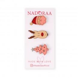 Nadoraa 'Tis Christmas Cream Clip Set - Pack of 3