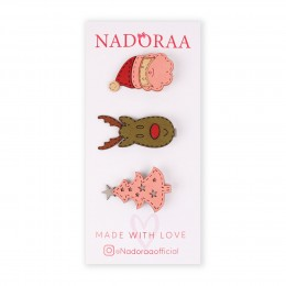 Nadoraa 'Tis Christmas Green  Clip Set- Pack of 3