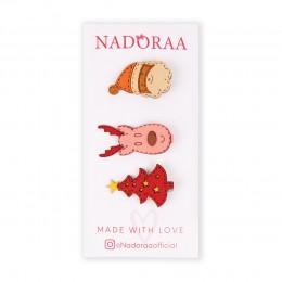 Nadoraa  'Tis Christmas Pink Clip Set - Pack of 3