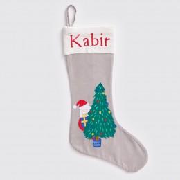 Peek-A-Boo Santa - Silver - Luxe Stocking