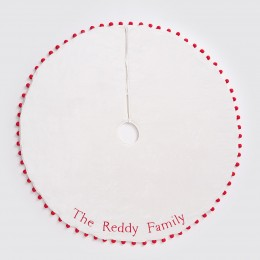 Pom Pom Tree Skirt - Ivory/Red