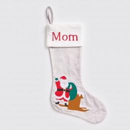 Santa At Home - Silver - Luxe Velvet Stocking
