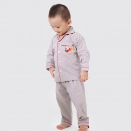 Santa In Sleigh Pajama Set - Grey