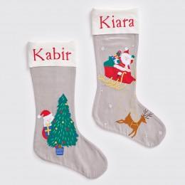 Santa In Sleigh - Silver - Luxe Stocking