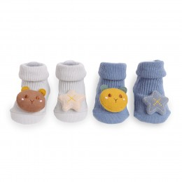 Starry Bear Blue And Grey 3D Socks - 2 Pack