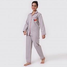 Women Santa In Sleigh Pajama Set - Grey