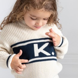 Coco Navy Chunky Personalized Knitted Jumper
