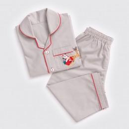 Men Santa In Sleigh Pajama Set - Grey