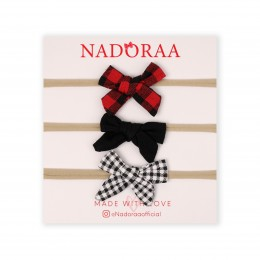 Nadoraa Checks and Solids Headband Set - Pack of 3