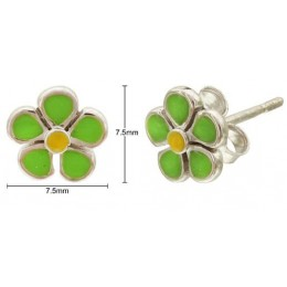 Enamelled Earrings - Flower