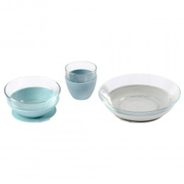 Duralex Glass Meal Set With Soft Protective Suction Pad - Jungle
