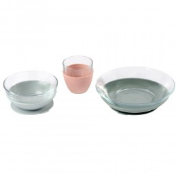 Duralex Glass Meal Set With Soft Protective Suction Pad - Eucalyptus