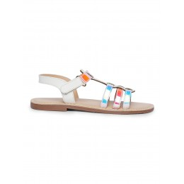Shine White Solid Sandals