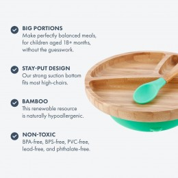Avanchy Bamboo Toddler Plate & Spoon - Green